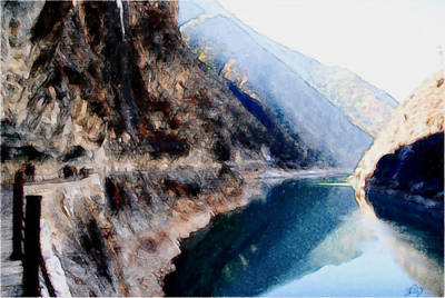 Deep River County Park Painting - Tiger Leaping Gorge 2 by Lanjee Chee