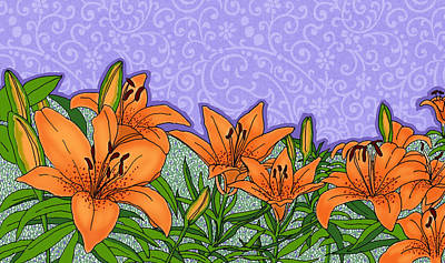 Painting - Tiger Lilies by David Burkart