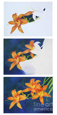 Painting - Tiger Lilies Emerging by Mariarosa Rockefeller