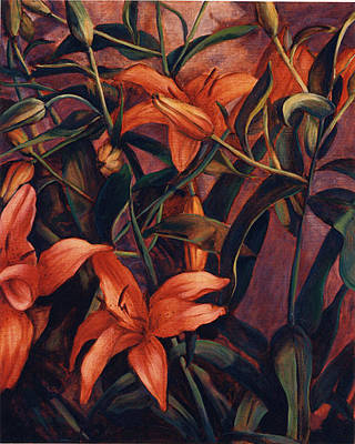 Painting - Tiger Lilies by Konnie Kim