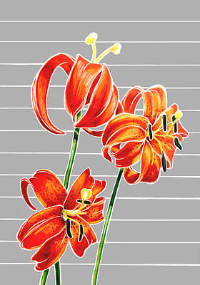 Mixed Media - tiger Lilies by Martha Rucker