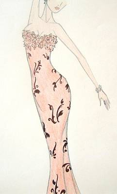 Drawing - Tiger Lily Dress by Christine Corretti