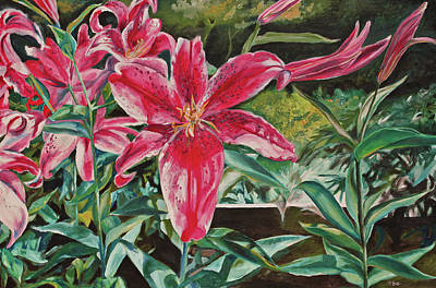 Tiger Lily Painting - Tiger Lily Symphony by Eve  Wheeler