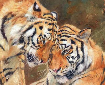 Tiger Painting - Tiger Love by David Stribbling