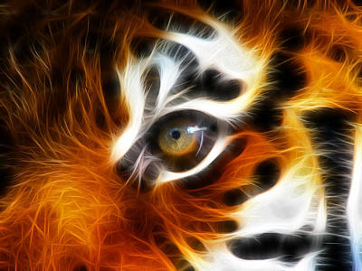 Macro Digital Art - Tiger  by Mark Ashkenazi