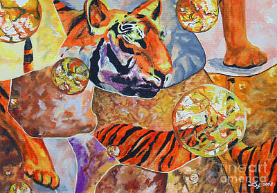 Art Print featuring the painting Tiger Mosaic by Daniel Janda