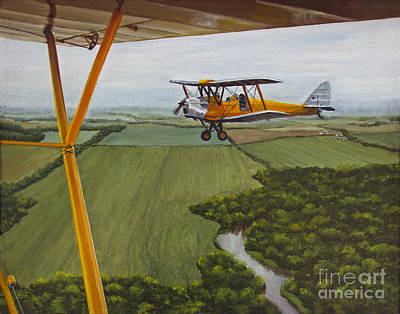 Piper Cub Painting - Tiger Moth And Cub by Pati O'Neal