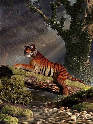 Lazy Digital Art - Tiger On A Log by Daniel Eskridge
