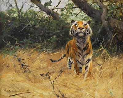 The Tiger Painting - Tiger On The Watch by Wilhelm Kuhnert