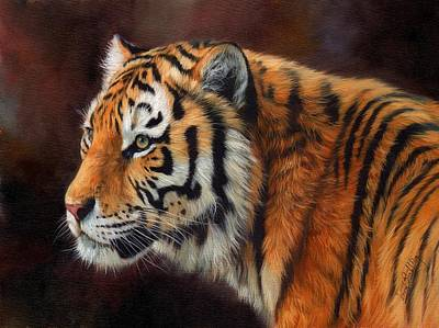 Animals Paintings - Tiger Portrait  by David Stribbling