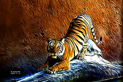 Digital Art - Tiger Pounce -  Fractal - S by James Ahn