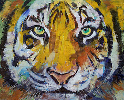 Colorful Abstract Painting - Tiger Psy Trance by Michael Creese