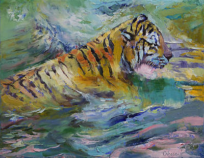 Water Play Painting - Tiger Reflections by Michael Creese