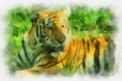Asian Tiger Digital Art - Tiger Resting Photo Art 01 by Thomas Woolworth