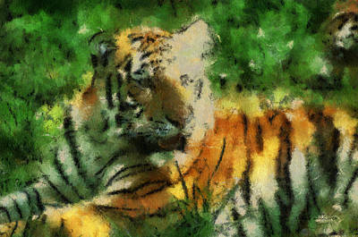 Asian Tiger Digital Art - Tiger Resting Photo Art 03 by Thomas Woolworth