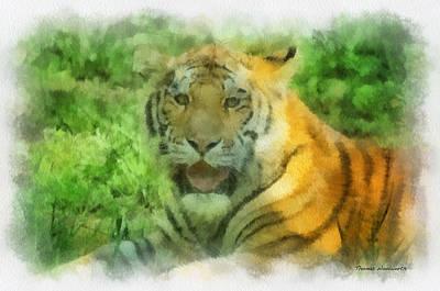 Asian Tiger Digital Art - Tiger Resting Photo Art 04 by Thomas Woolworth
