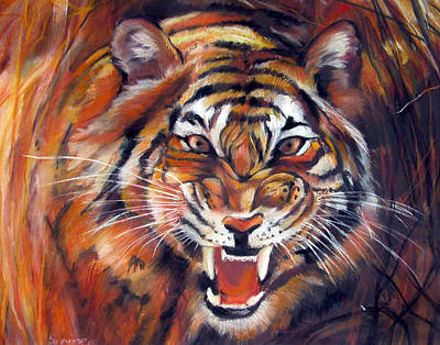 Painting - Tiger Roaring by Synnove Pettersen
