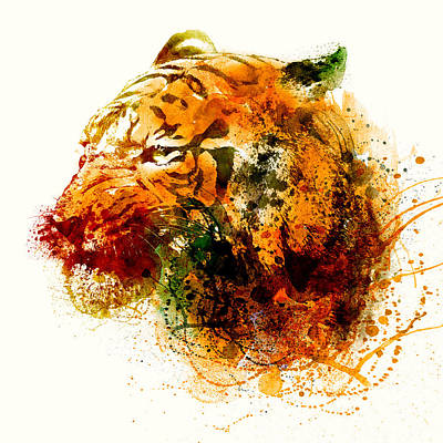 Big Square Format Mixed Media - Tiger Side Face by Marian Voicu