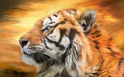 Tiger Mixed Media - Tiger Sky by Carol Cavalaris