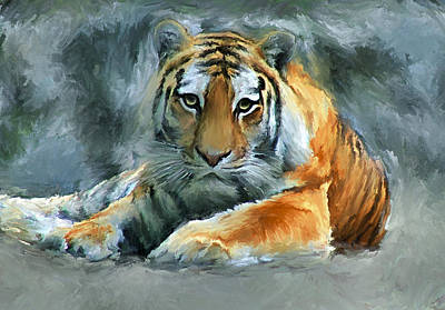 House Pet Digital Art - Tiger Snow by Yury Malkov