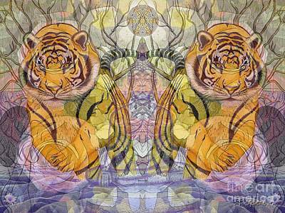 Art Print featuring the painting Tiger Spirits In The Garden Of The Buddha by Joseph J Stevens