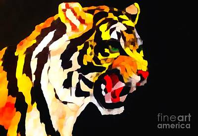 Painting - Tiger Stalking Impression by Saundra Myles