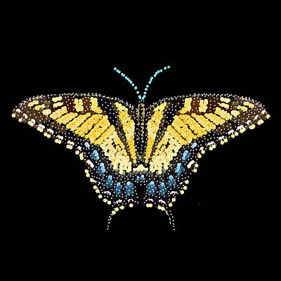 Digital Art - Tiger Swallowtail Butterfly Bedazzled by R  Allen Swezey