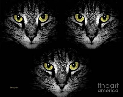 Digital Art - Tiger Tiger Times Three by Dale   Ford