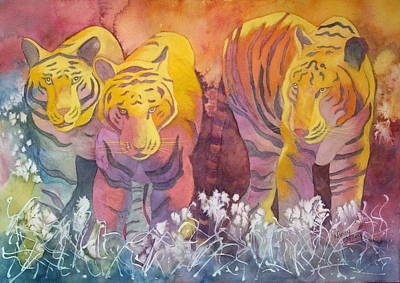 Art Print featuring the painting Tiger Trio by Nancy Jolley