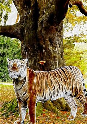 Digital Manipulation Painting - Tiger Under Decidous Bark Tree  by Georgeta Blanaru
