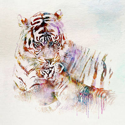 Big Square Format Mixed Media - Tiger With Cub Watercolor by Marian Voicu
