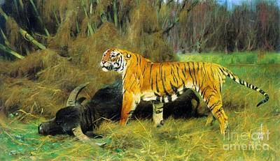 Fauna Painting - Tiger With Its Prey by Pg Reproductions