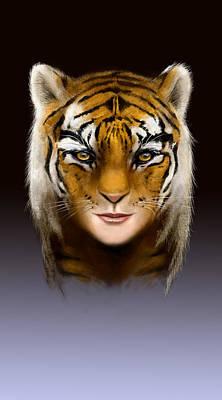 Tigress Digital Art - Tiger Woman by Arie Van der Wijst