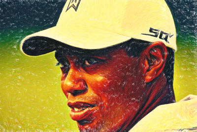 Tiger Woods Painting - Tiger Woods 2 Crayons by MotionAge Designs