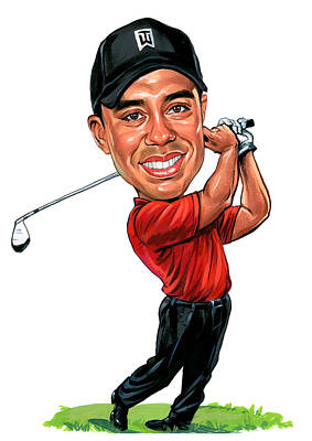 Caricature Painting - Tiger Woods by Art