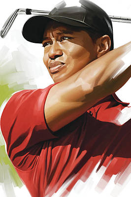 Portraits Mixed Media - Tiger Woods Artwork by Sheraz A
