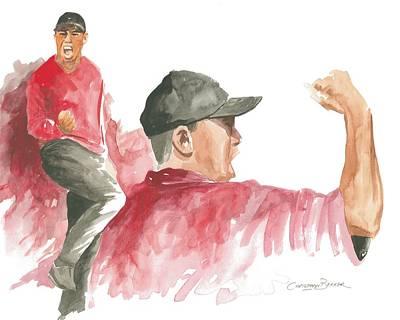 Water Sports Art Painting - Tiger Woods by Christiaan Bekker