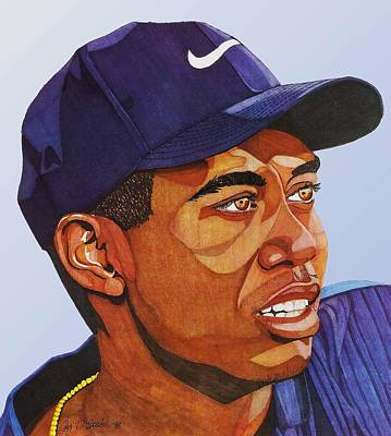 Drawing - Tiger Woods by Cory Still
