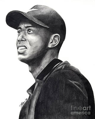 Nike Drawing - Tiger Woods Driven by Devin Millington
