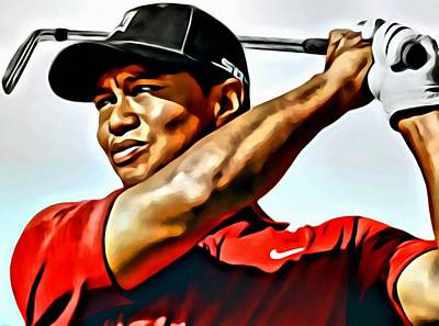 Golf Painting - Tiger Woods by Florian Rodarte