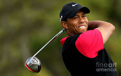 Tiger Woods Golf Art Print by Lanjee Chee