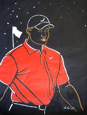 Tiger Woods Hazeltine 2009 Art Print by Lesley Giles