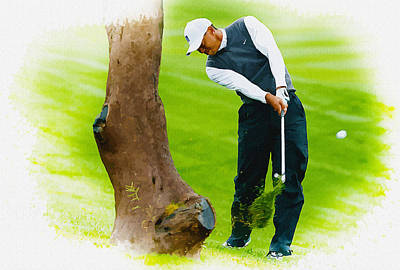 Ernie Els Wall Art - Digital Art - Tiger Woods Hits A Shot From The Rough by Don Kuing