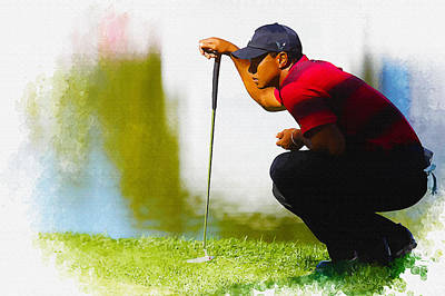 Ernie Els Wall Art - Digital Art - Tiger Woods Lines Up A Putt On The 18th Green by Don Kuing