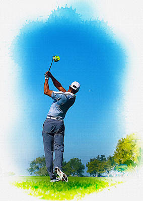 Ernie Els Wall Art - Digital Art - Tiger Woods Plays His Tee Shot On The 15th Hole by Don Kuing