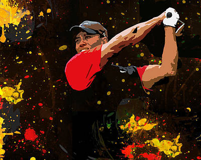 Professional Golf Painting - Tiger Woods Splash by John Farr