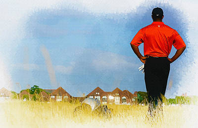 Ernie Els Wall Art - Digital Art - Tiger Woods - The Open Championship by Don Kuing
