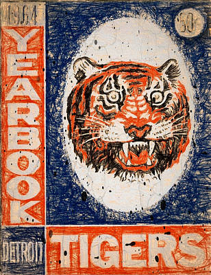 Detroit Tigers Art Painting - Tiger Yearbook 1964 Scratched by John Farr