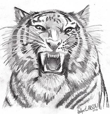 Animals Drawings - Tigers Growl by Rodger Larson