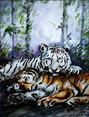 Print featuring the painting Tigers-mother And Child by Harsh Malik